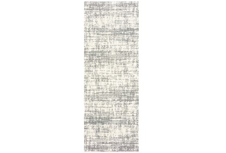 27X90 Rug-Distressed Soft Shag Ivory/Grey