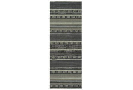 27X90 Rug-Grey/Navy Stripes