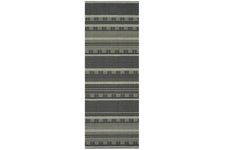 27X90 Rug-Grey/Navy Stripes