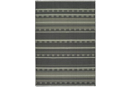 79X114 Rug-Grey/Navy Stripes