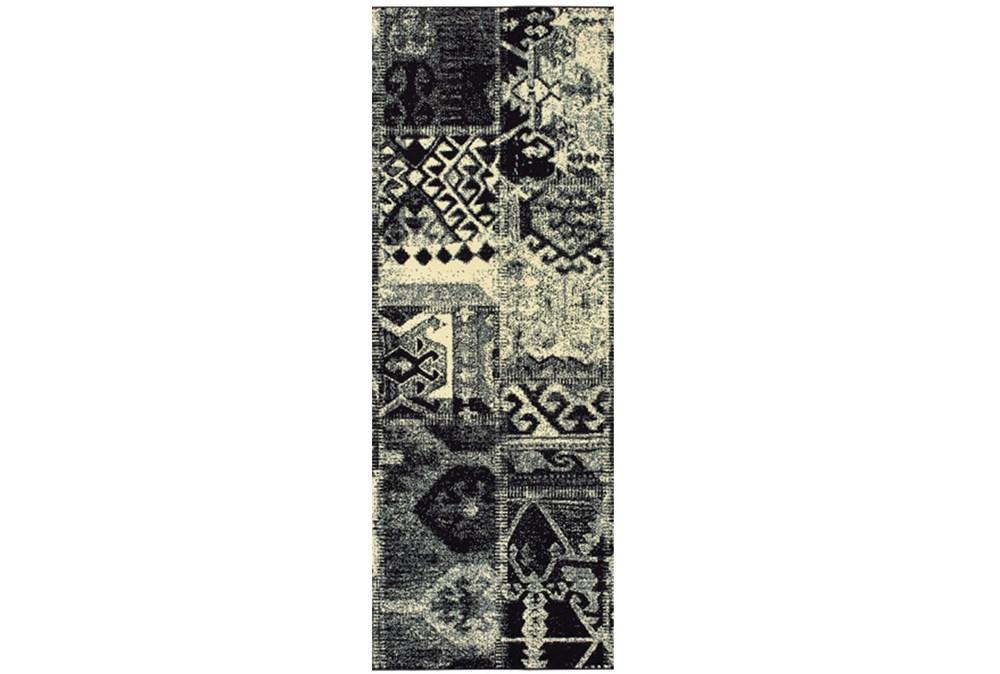 27X90 Rug-Patchwork Black/Ivory
