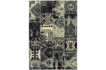 63X90 Rug-Patchwork Black/Ivory