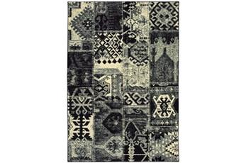 94X130 Rug-Patchwork Black/Ivory
