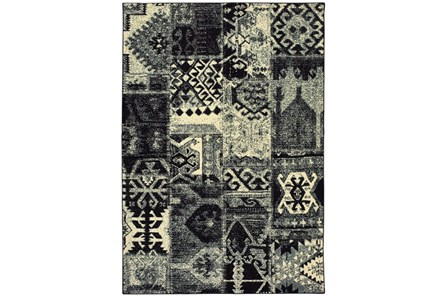 118X154 Rug-Patchwork Black/Ivory