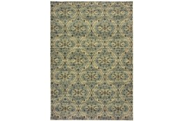 79X114 Rug-Moroccan Lattice Ivory/Blue