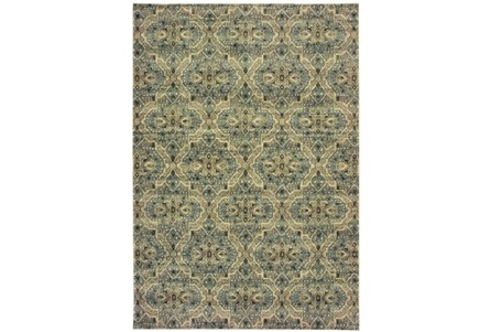 94X130 Rug-Moroccan Lattice Ivory/Blue