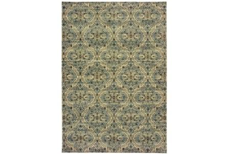 94X130 Rug-Moroccan Lattice Ivory/Blue