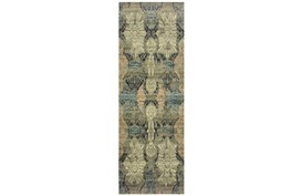 27X90 Rug-Distressed Floral Blue/Taupe