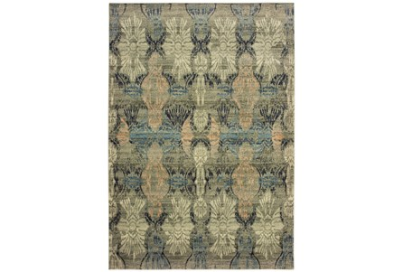 46X65 Rug-Distressed Floral Blue/Taupe