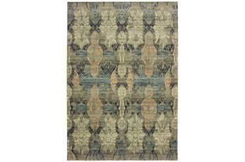 79X114 Rug-Distressed Floral Blue/Taupe