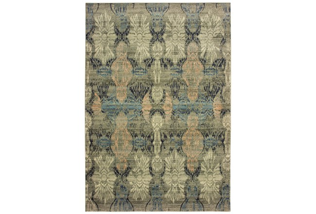 79X114 Rug-Distressed Floral Blue/Taupe - 360