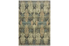 118X154 Rug-Distressed Floral Blue/Taupe