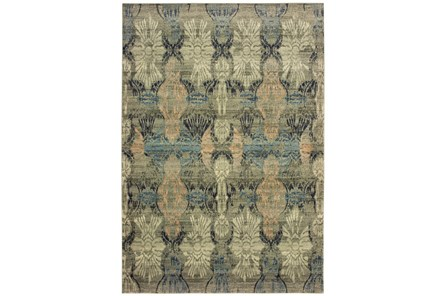 118X154 Rug-Distressed Floral Blue/Taupe - Main