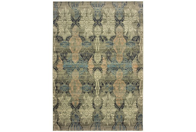 118X154 Rug-Distressed Floral Blue/Taupe - 360