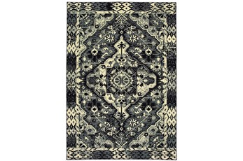 27X90 Rug-Medallion Black/Ivory