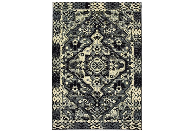 46X65 Rug-Medallion Black/Ivory - 360