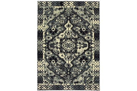 79X114 Rug-Medallion Black/Ivory