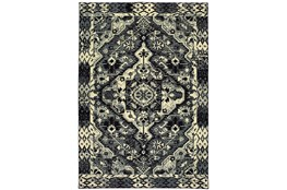 94X130 Rug-Medallion Black/Ivory