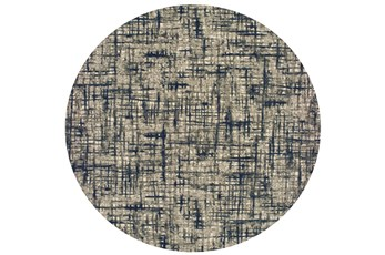 94 Inch Round Rug-Distressed Modern Grey/Navy