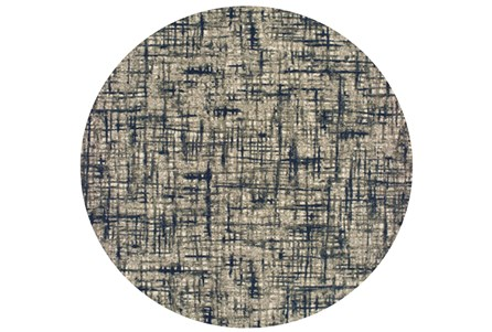 94 Inch Round Rug-Distressed Modern Grey/Navy
