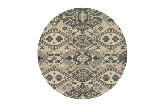 94 Inch Round Rug-Lodge Grey/Ivory - 360