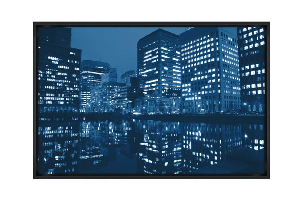 Picture-45X30 Blue Light City Glass Framed