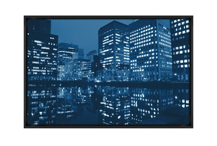 Picture-45X30 Blue Light City Glass Framed