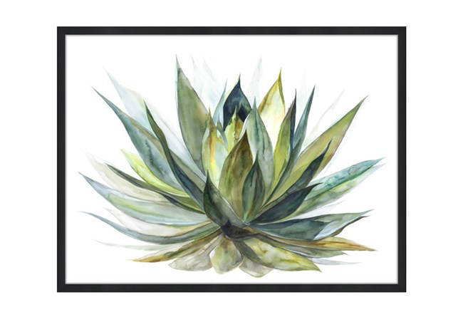 Picture-40X30 Blooming Verde Glass Framed - 360