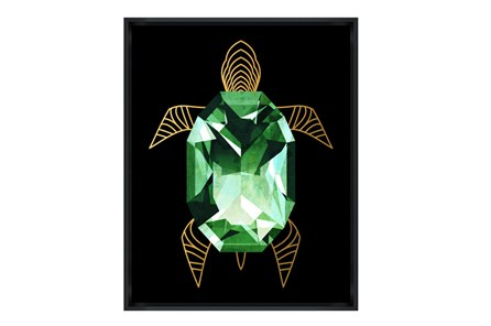 Picture-24X30 Emerald Turtle Glass Framed - Main