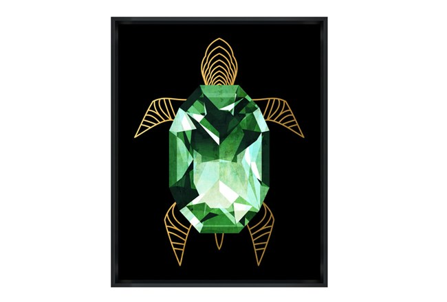 Picture-24X30 Emerald Turtle Glass Framed - 360