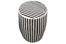 Striped Inlay Side Table