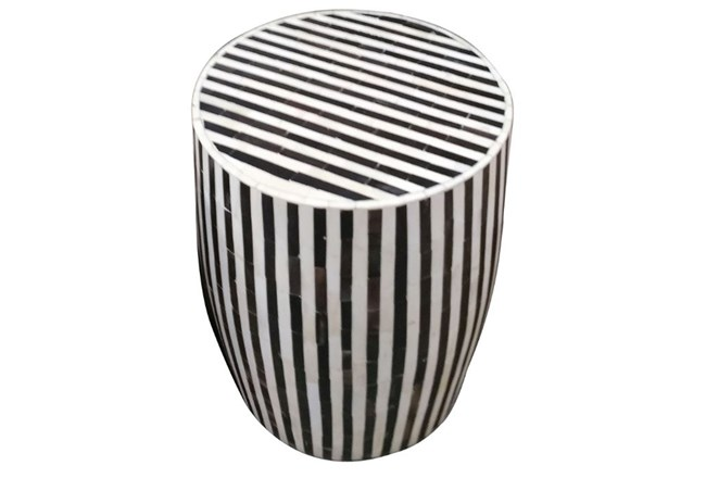 Striped Inlay Side Table - 360