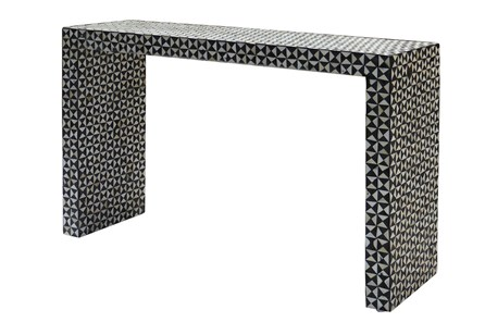 Black And White Inlay Console Table - Main