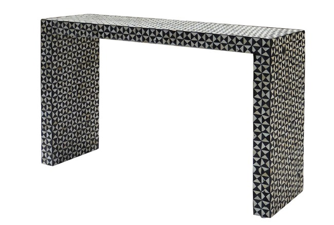 Black And White Inlay Console Table - 360