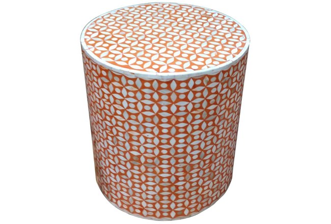 Orange Inlay Side Table - 360