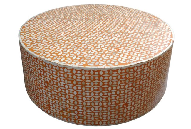 Orange Inlay Coffee Table - 360