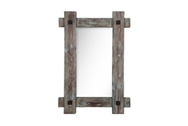 Wood Framed Mirror With Metal