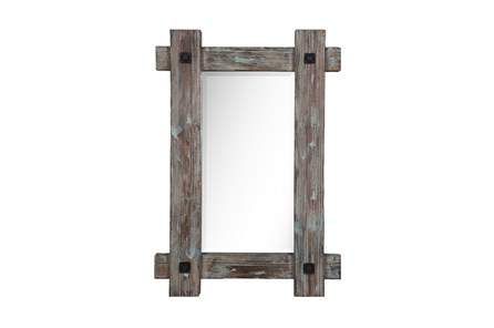 Wood Framed Mirror With Metal - Main