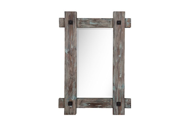 Wood Framed Mirror With Metal - 360