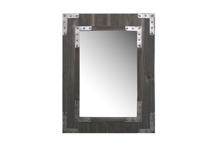 Wood Framed Mirror With Metal Accents