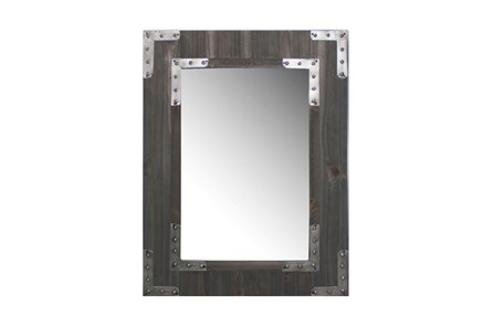 Wood Framed Mirror With Metal Accents - Main