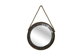 Metal Framed Mirror With Hanging Rope