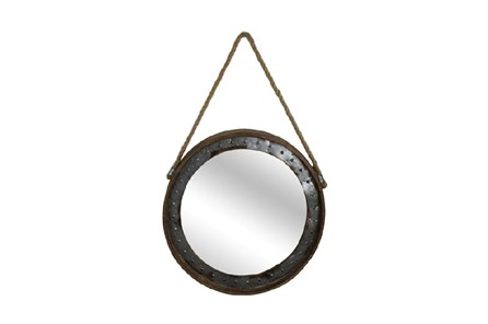 Metal Framed Mirror With Hanging Rope - Main