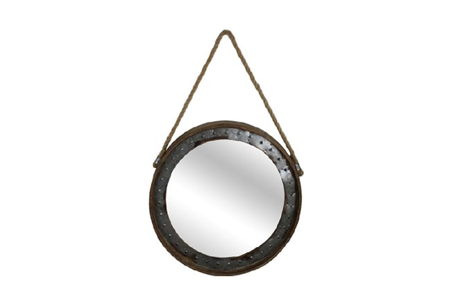 Metal Framed Mirror With Hanging Rope - 360