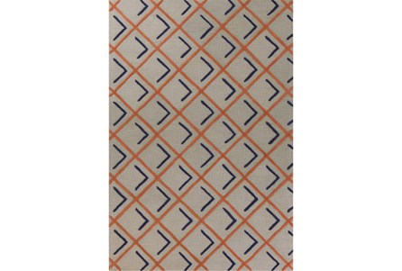 60X84 Rug-Diamond Shadows Tangerine And Indigo