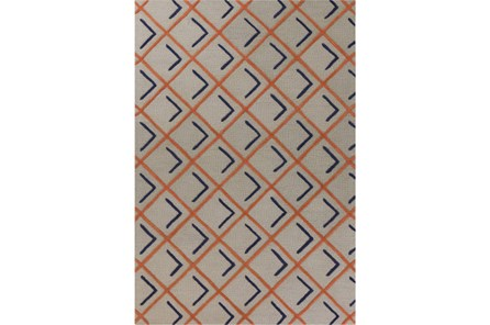 90X114 Rug-Diamond Shadows Tangerine And Indigo