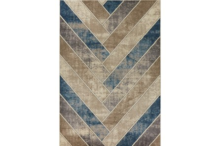 63X91 Rug-Distressed Herringbone Tan/Teal - Main