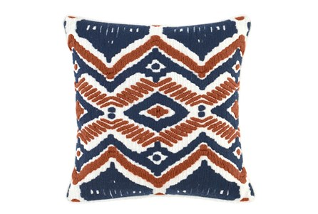 Accent Pillow-Native Diamond Terracotta & Indigo 18X18