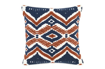 Accent Pillow-Native Diamond Terracotta & Indigo 18X18 - Main