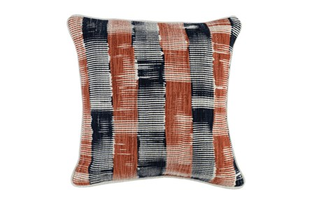 Accent Pillow-Indigo & Terracotta Block Print 20X20